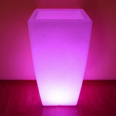 """Комплект Кашпо """"Flox"""" большое белый с беспроводной подсветкой"""