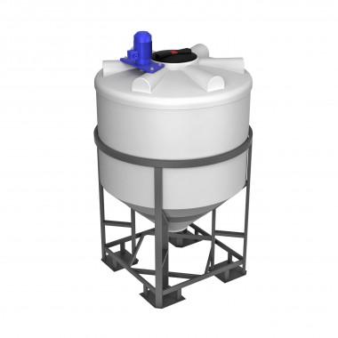 Емкость ФМ 1000л в обрешетке с турбинной мешалкой